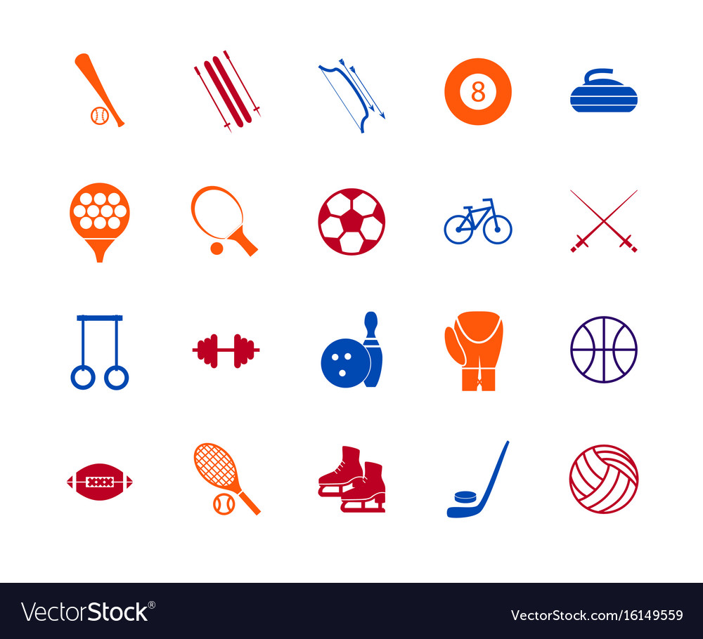 Sport Icon Signs And Symbols Color Line Set Vector Image