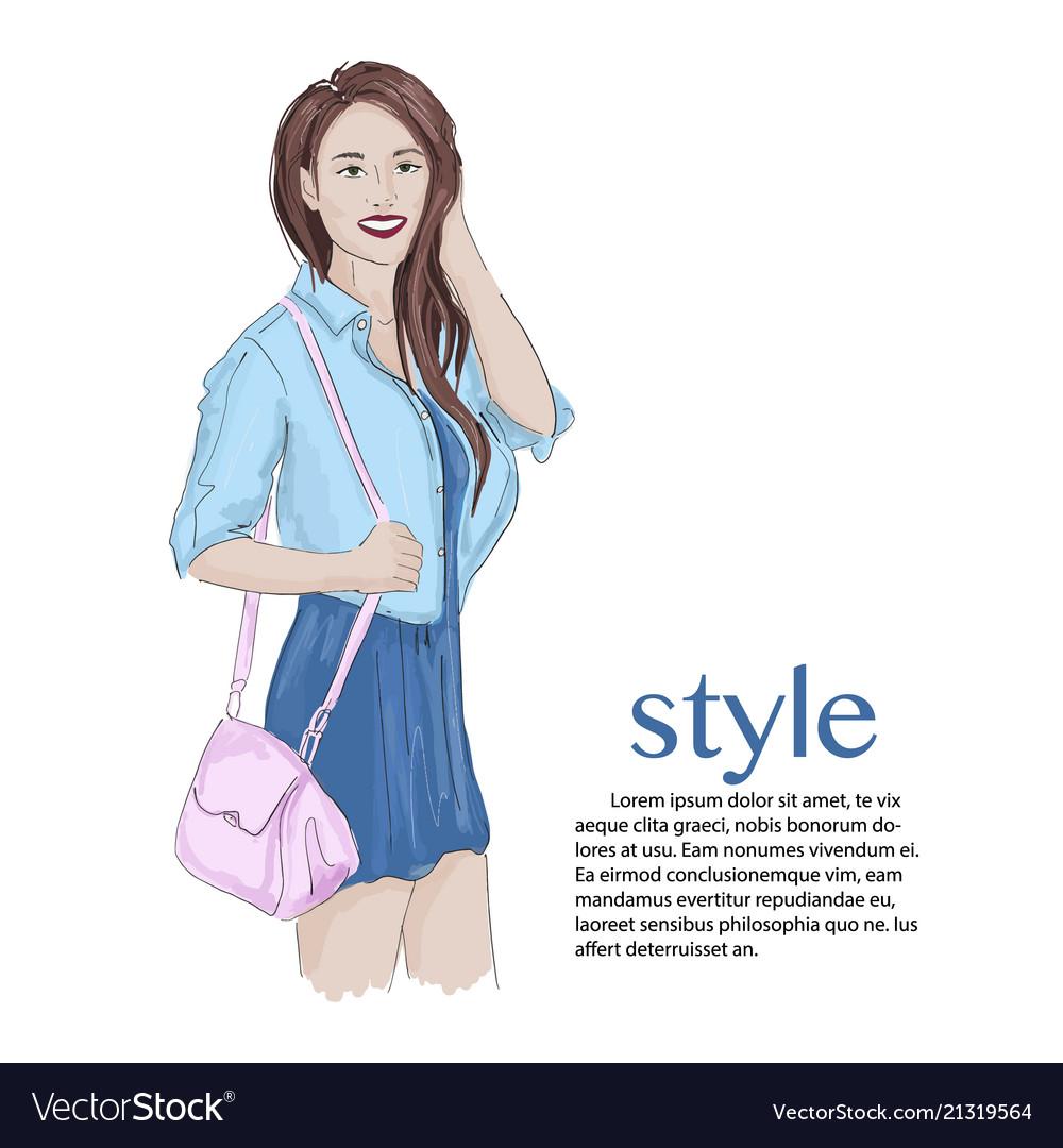 Brunnete girl model wearing cute dress jeans