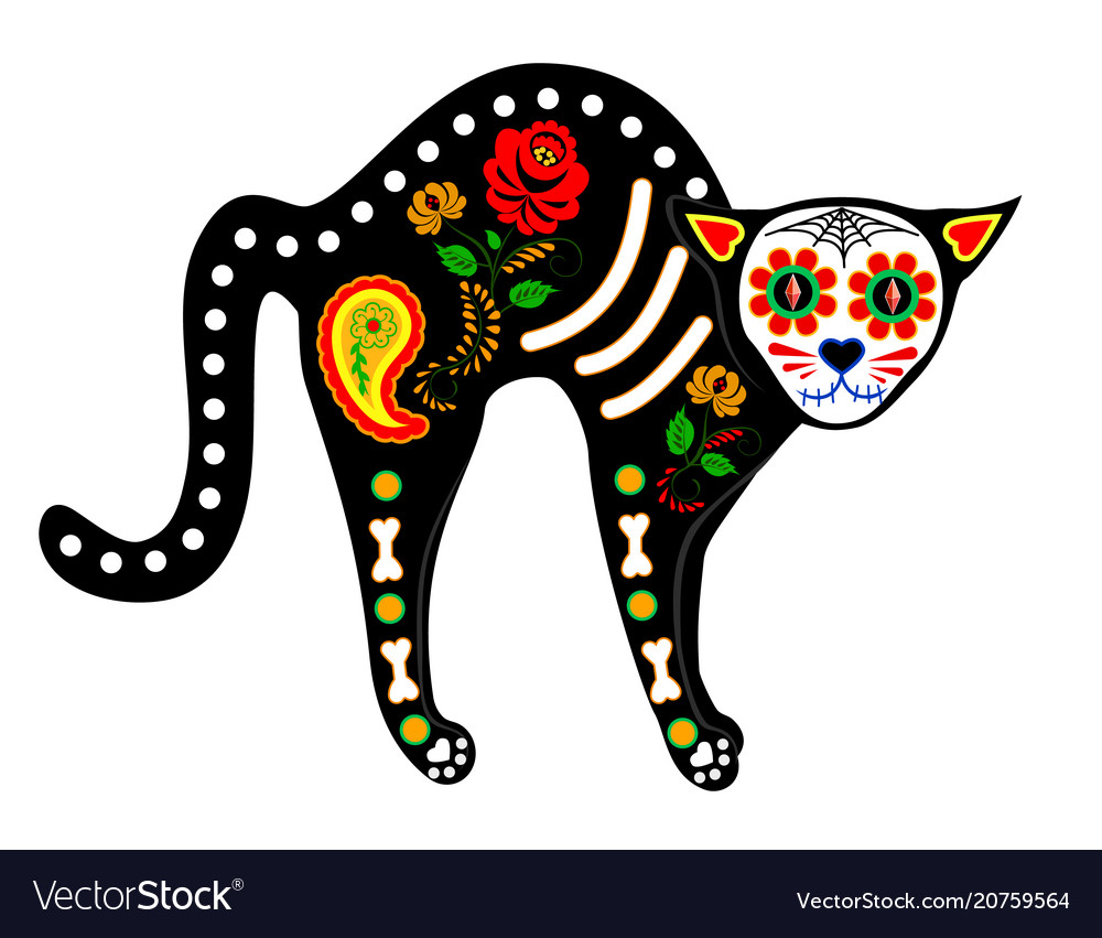 Calavera cat isolated on white