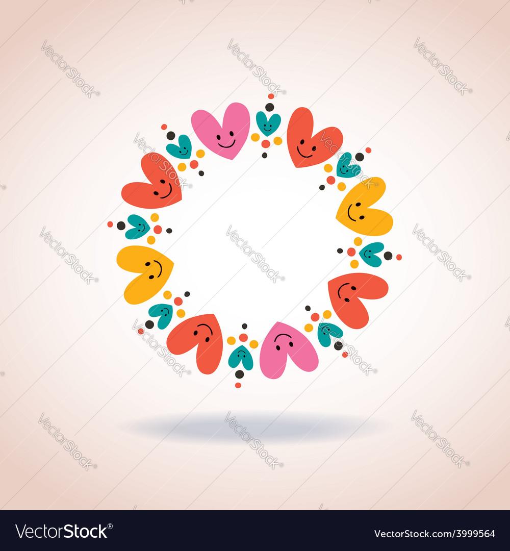 cute hearts circle love symbol sign icon concept vector image