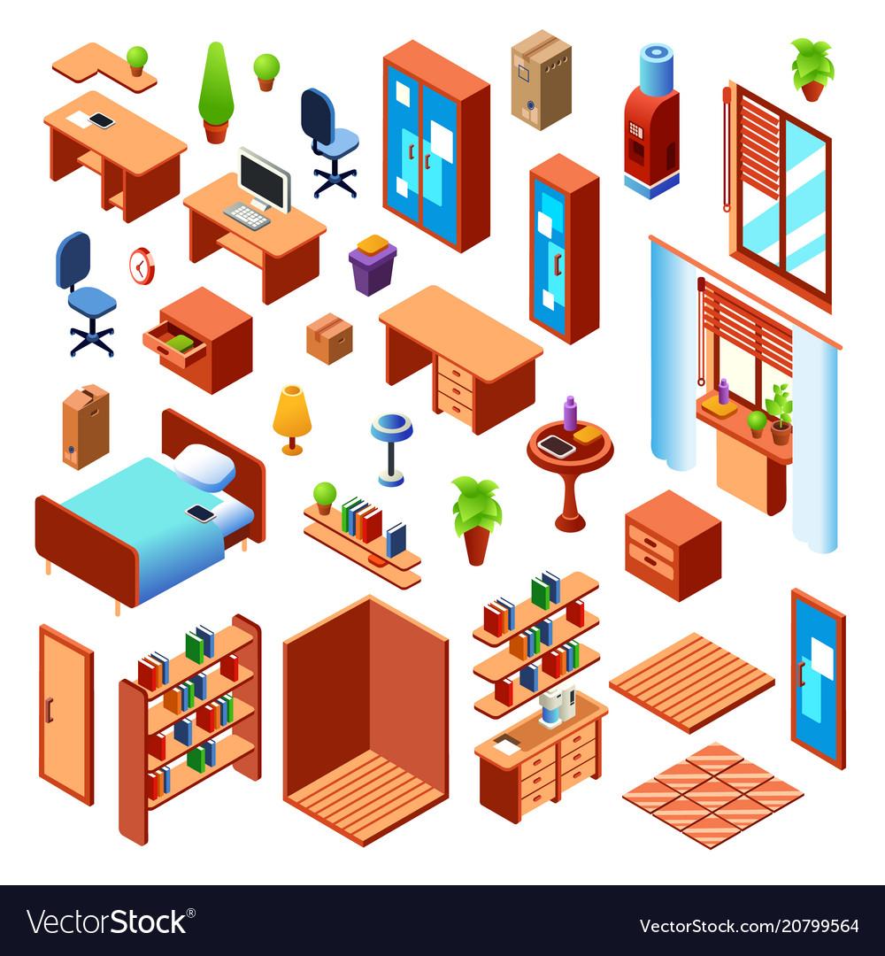Isometric domestic furniture set
