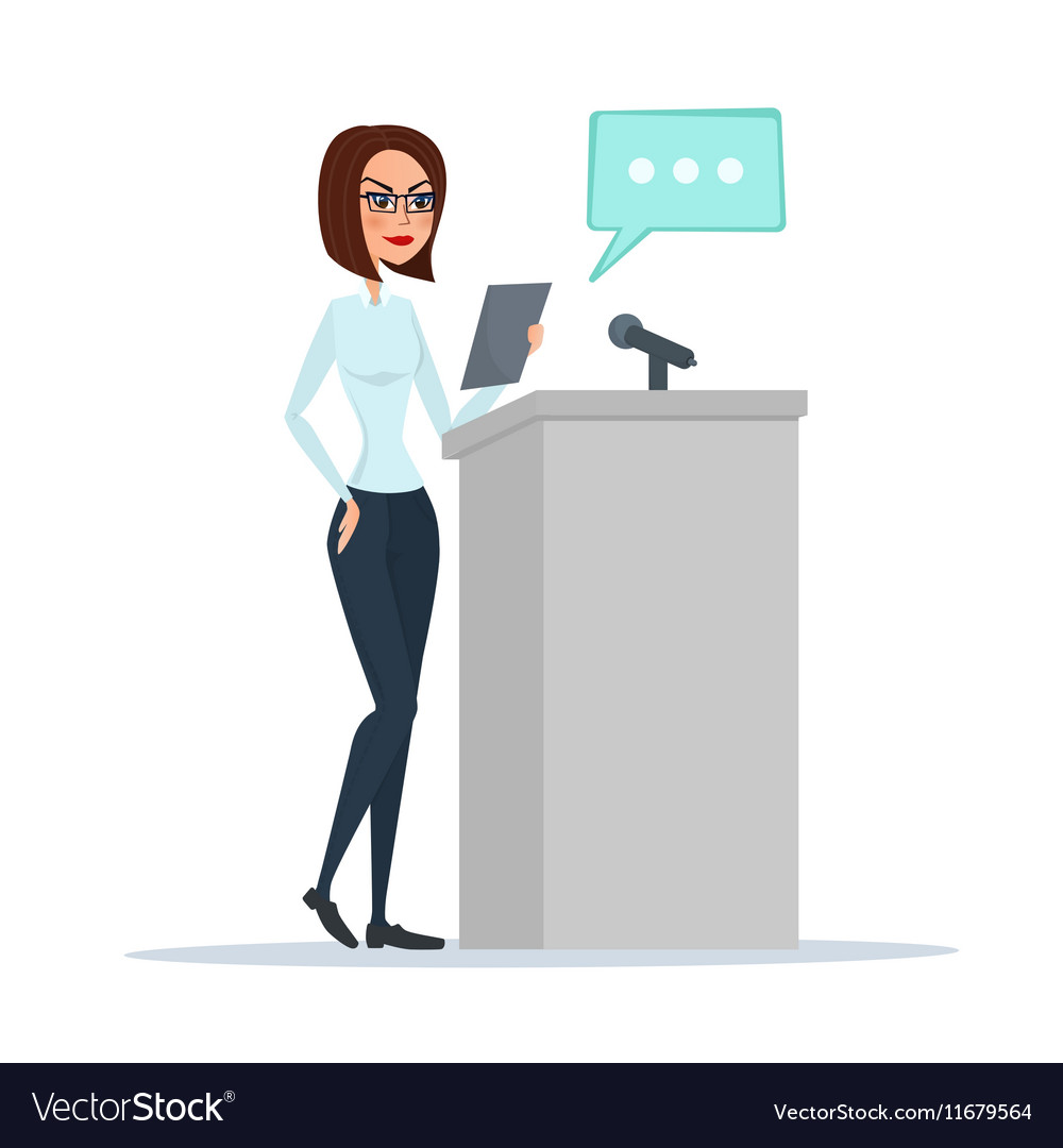 Politician woman standing behind rostrum and vector image