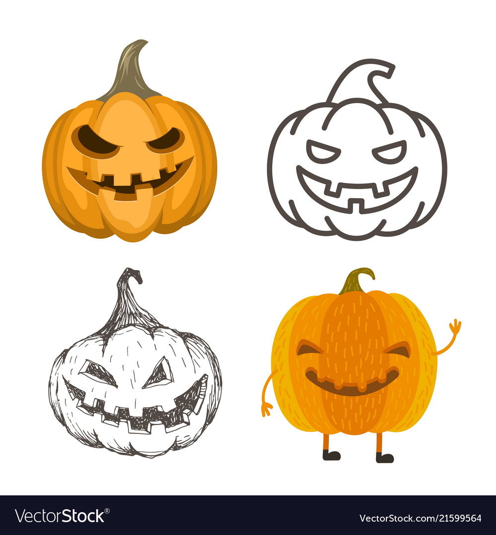Set of halloween jack-o-lantern pumpkins