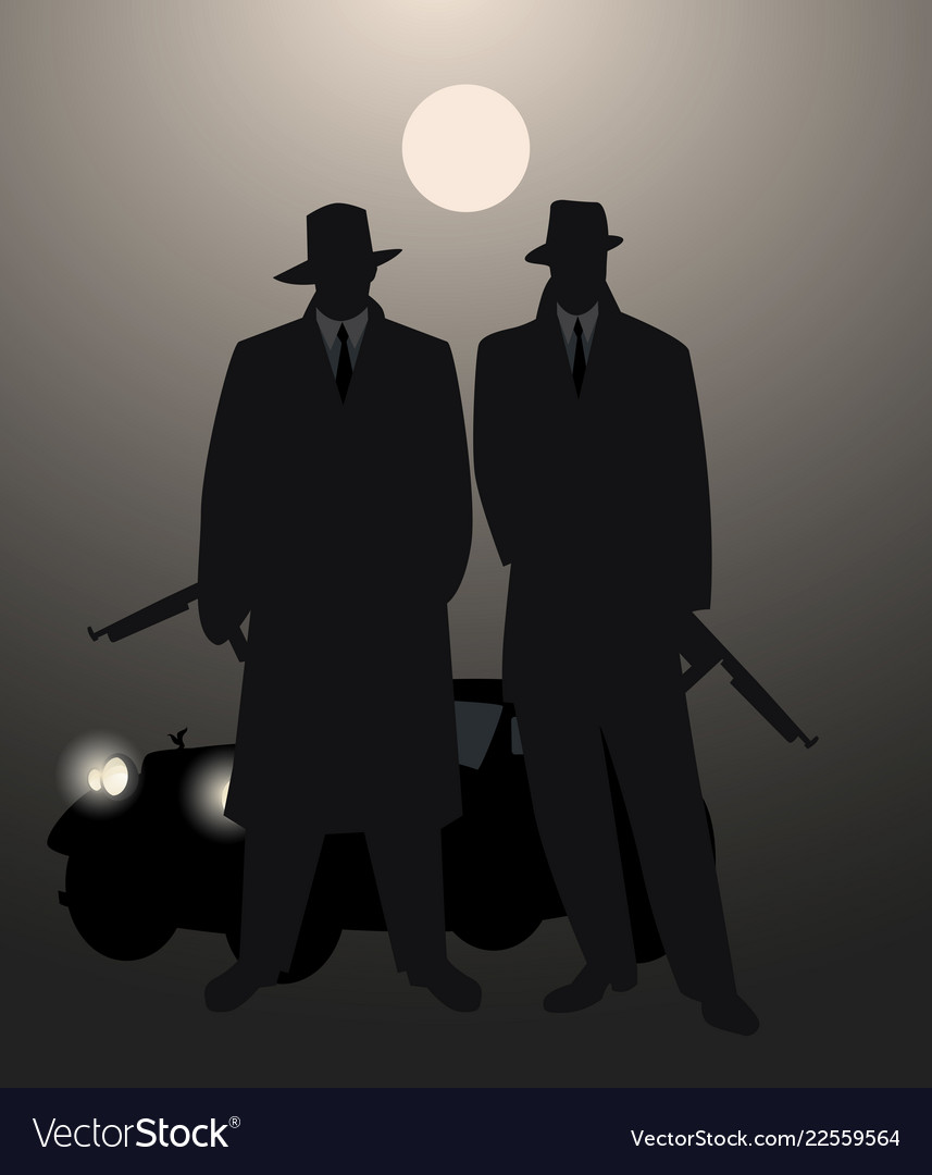 Silhouettes of two men with machine gun and retro