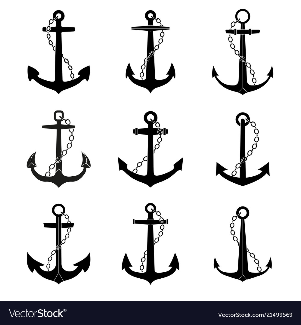 Anchor with chain icons set
