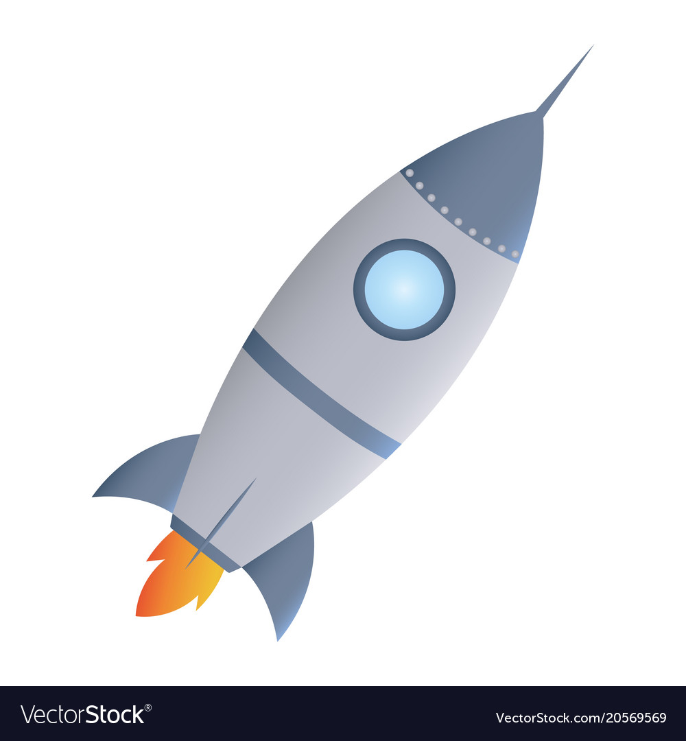 Cartoon rocket space ship take off isolated