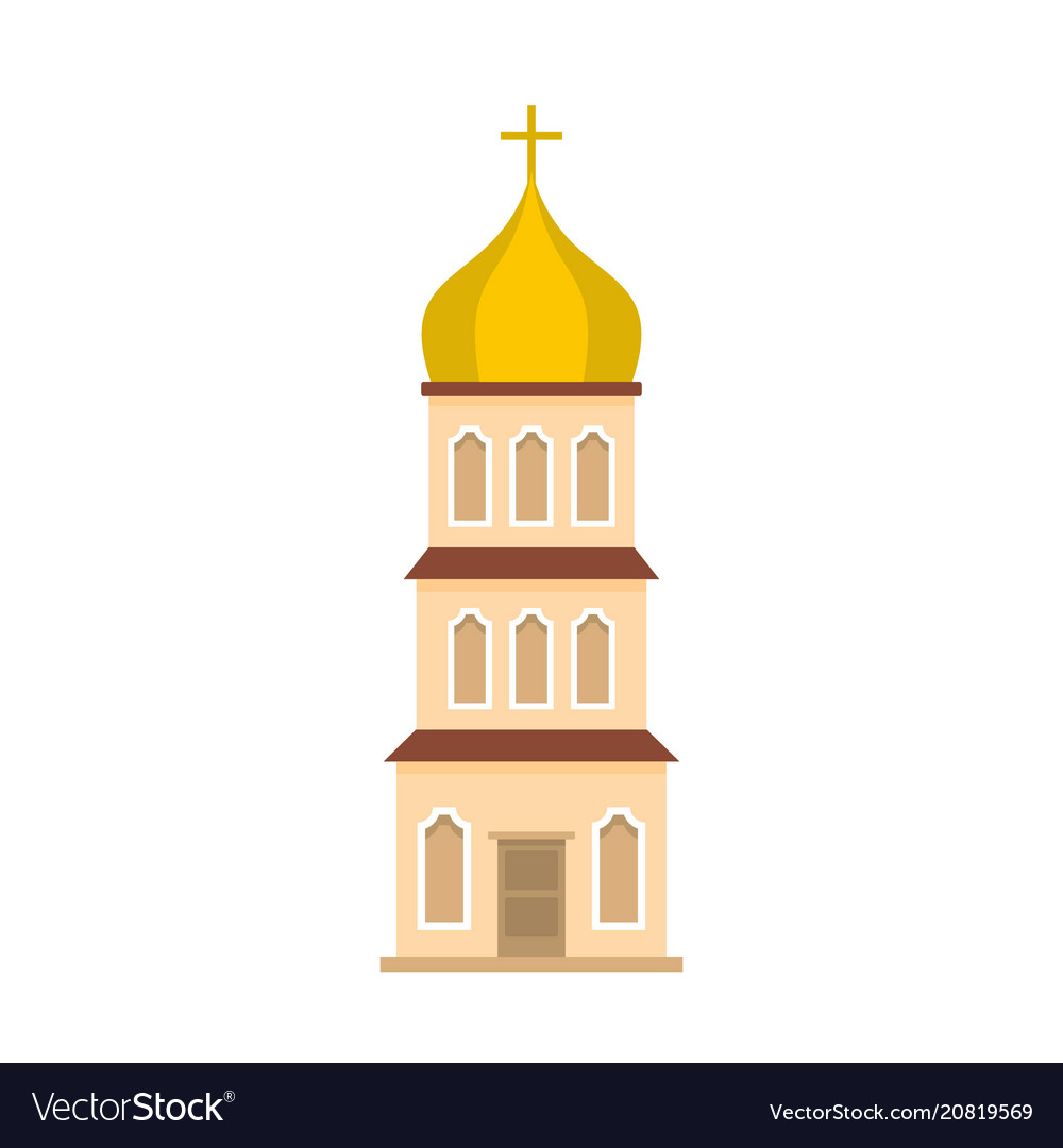 Church tower icon flat style