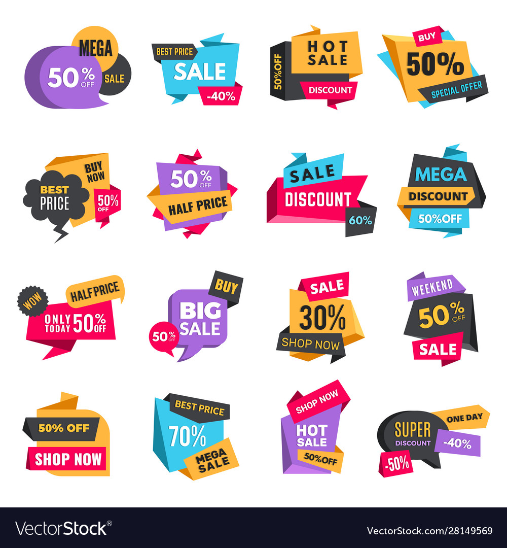 Discount tags product ads special offer badges Vector Image