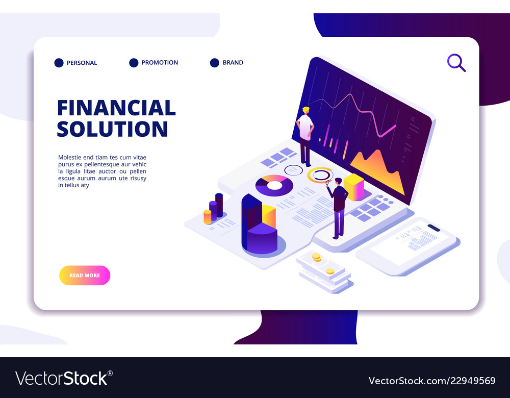 Economics finance manager isometric concept fund