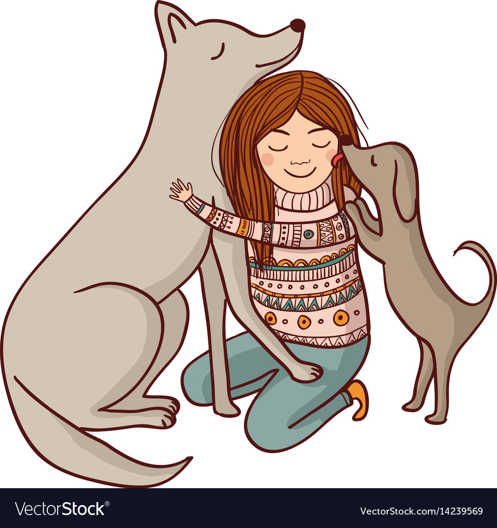Girl with dogs vector image