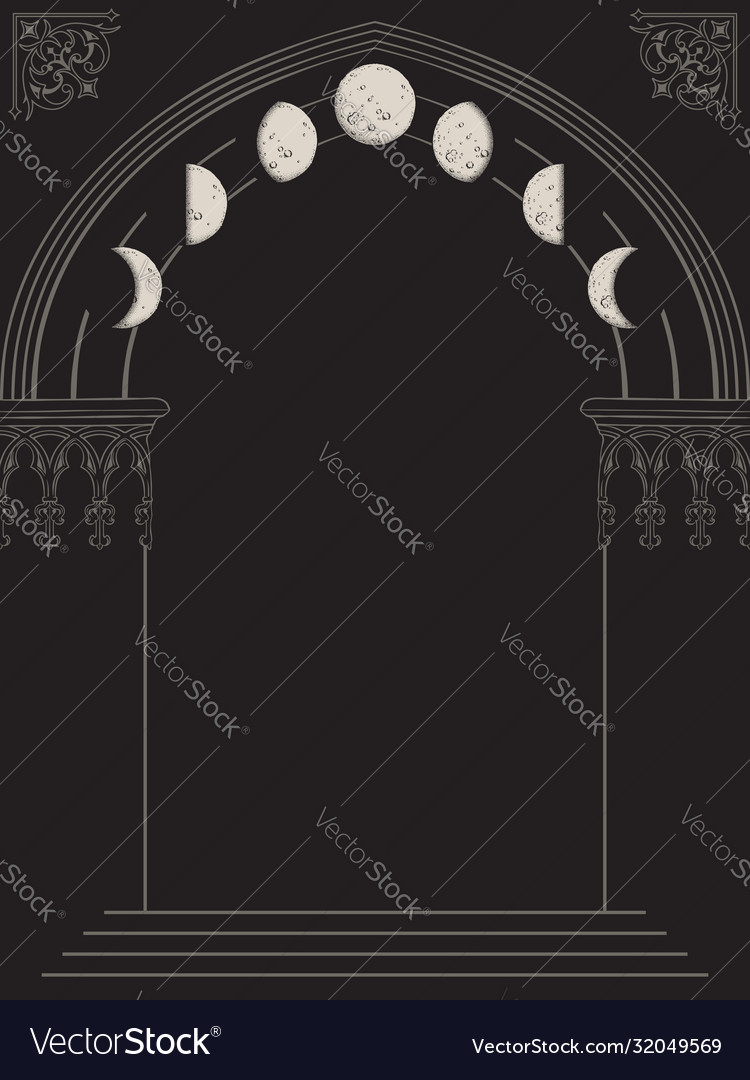 Gothic arch with moon phases hand drawn