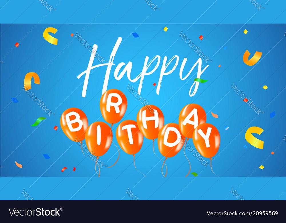 Happy birthday party balloon web banner card