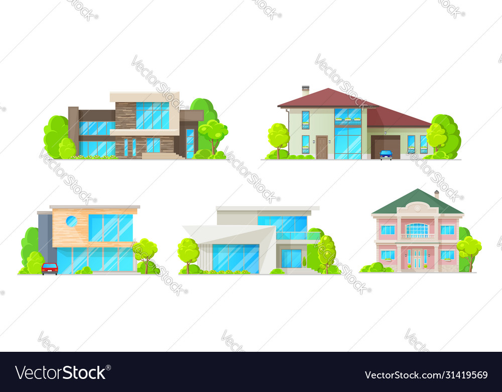 Houses cottages villas and bungalow icons