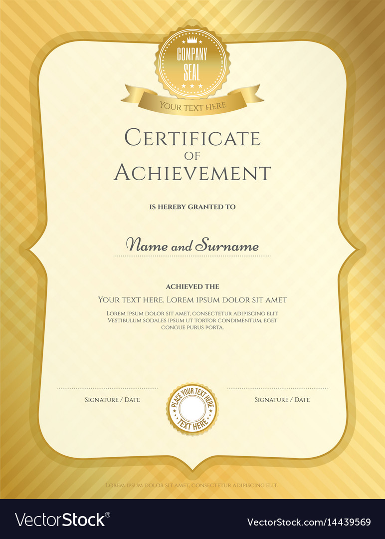 Portrait Certificate Of Achievement Template In Vector Image