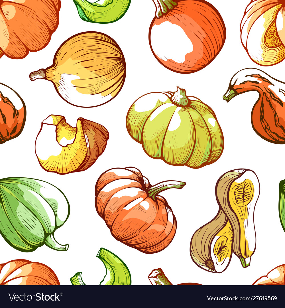 Pumpkins hand drawn color seamless pattern