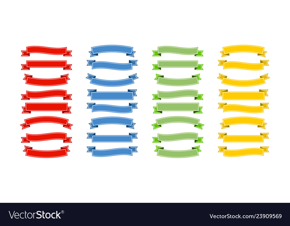 Ribbons banners collection in red blue green and