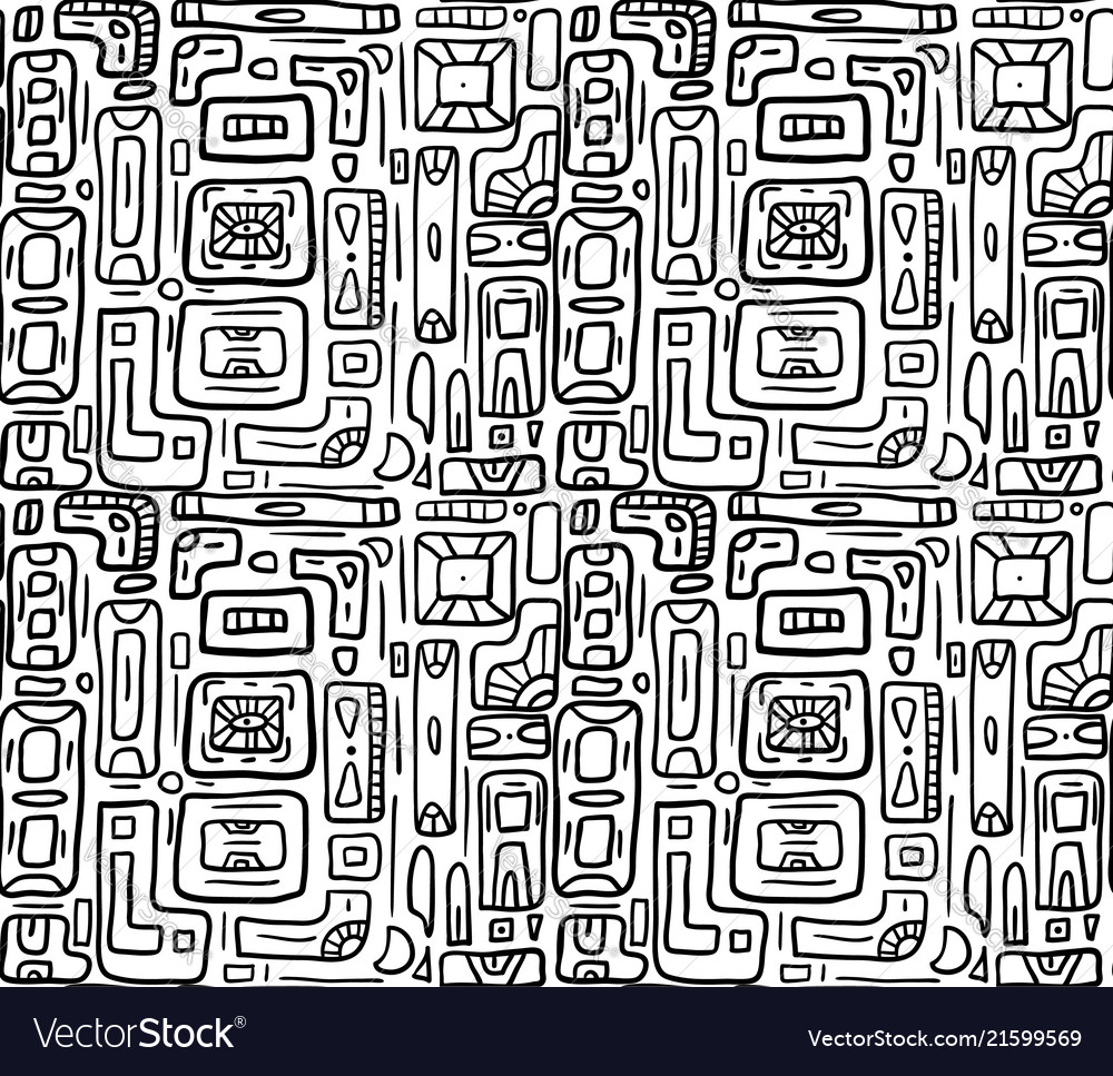 Seamless black and white texture with tribal
