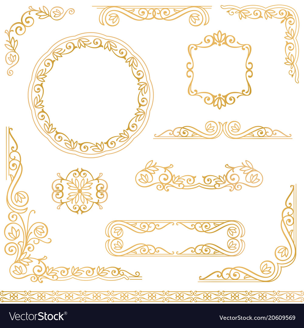Vintage gold decorative frames design element set Vector Image