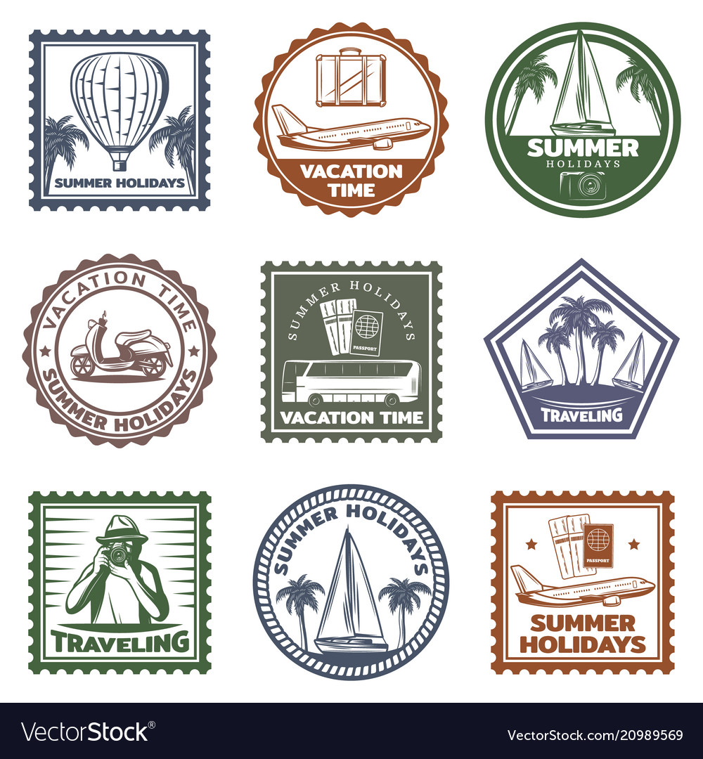 Vintage summer vacation stamps set