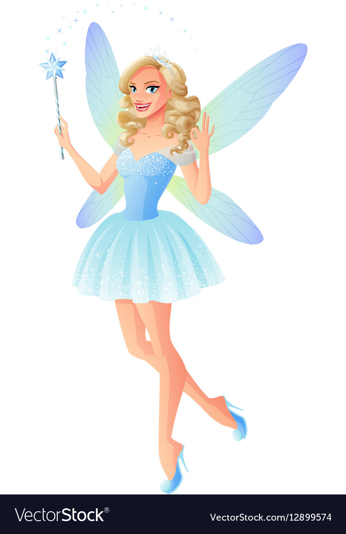 Beautiful blue fairy with magic wand and vector image