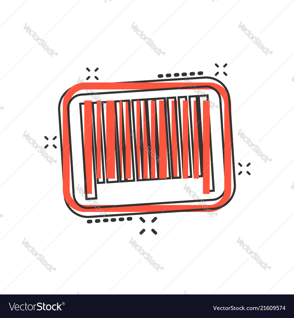Cartoon barcode product distribution icon in