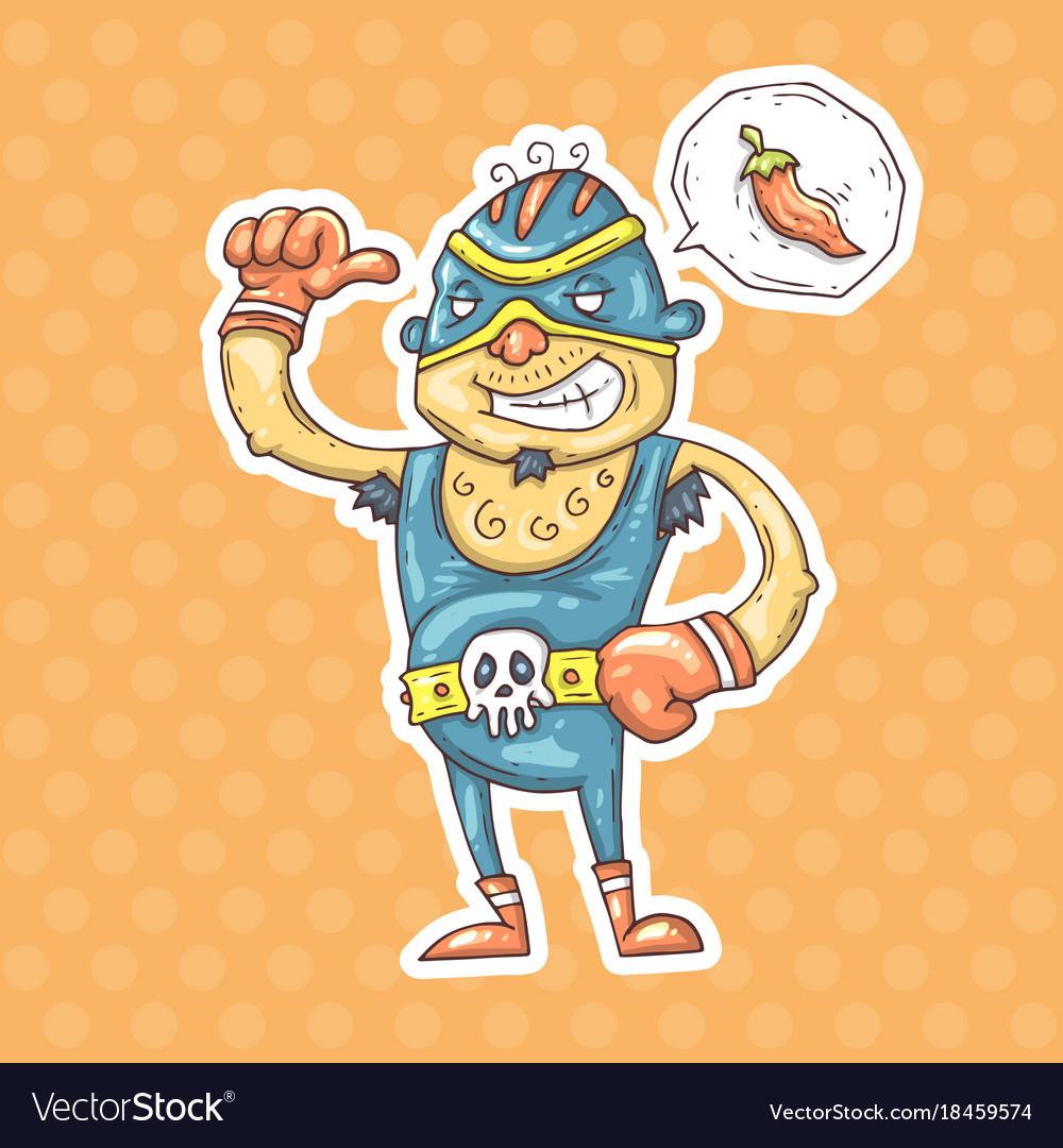 Cartoon mexican wrestler