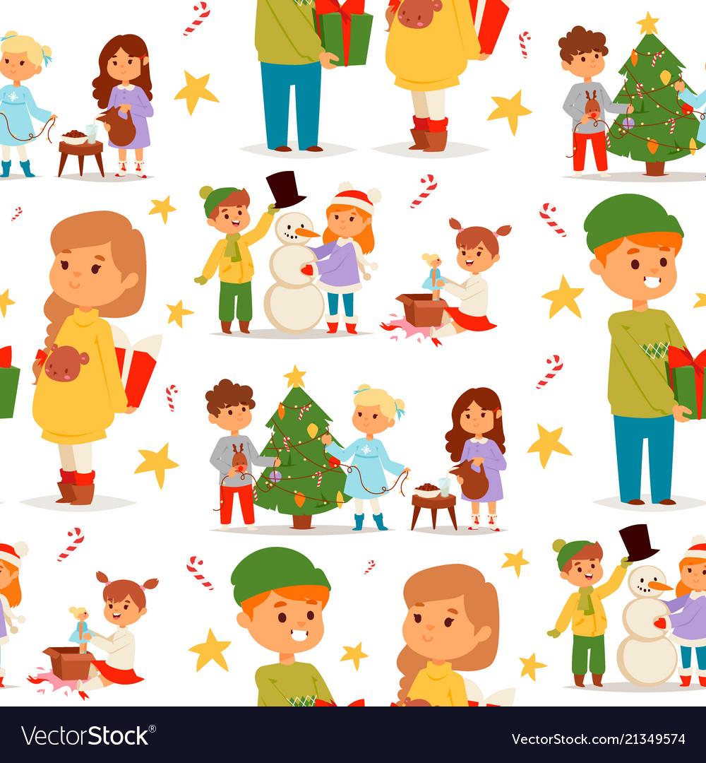 Christmas kids character playing winter