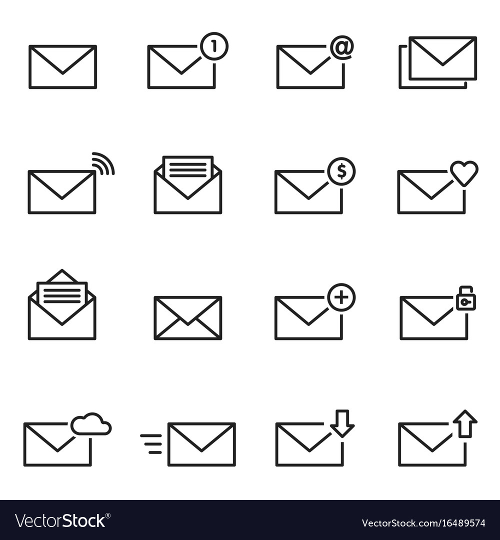 Email envelope line icon set message