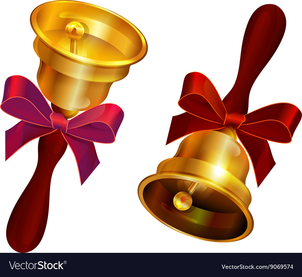 Golden bell with red bow Holiday Last call at