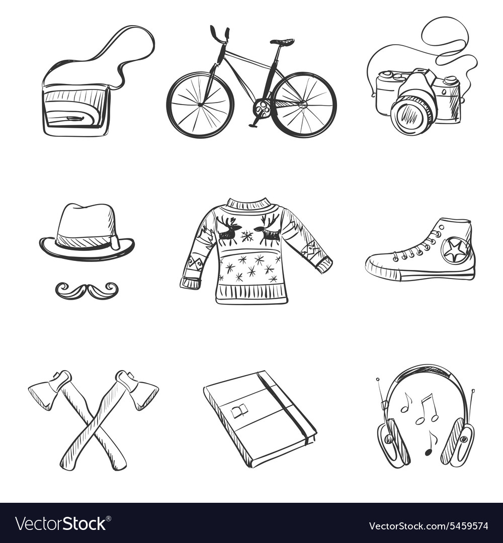 Hand-drawn Hipster style icon set