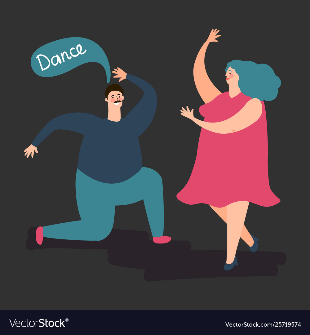 Happy plump woman and man dance cute fat
