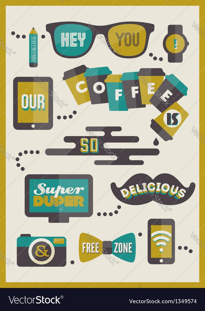 Hipster cafe menu - set of design elements