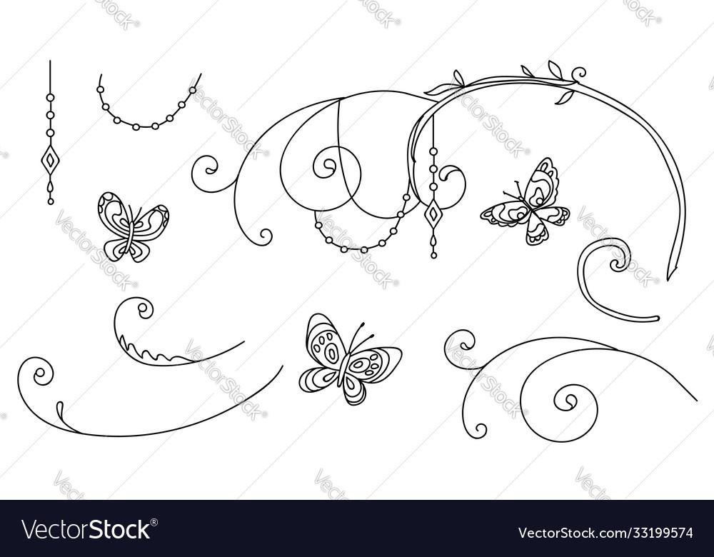 Line art set butterfly vignettes
