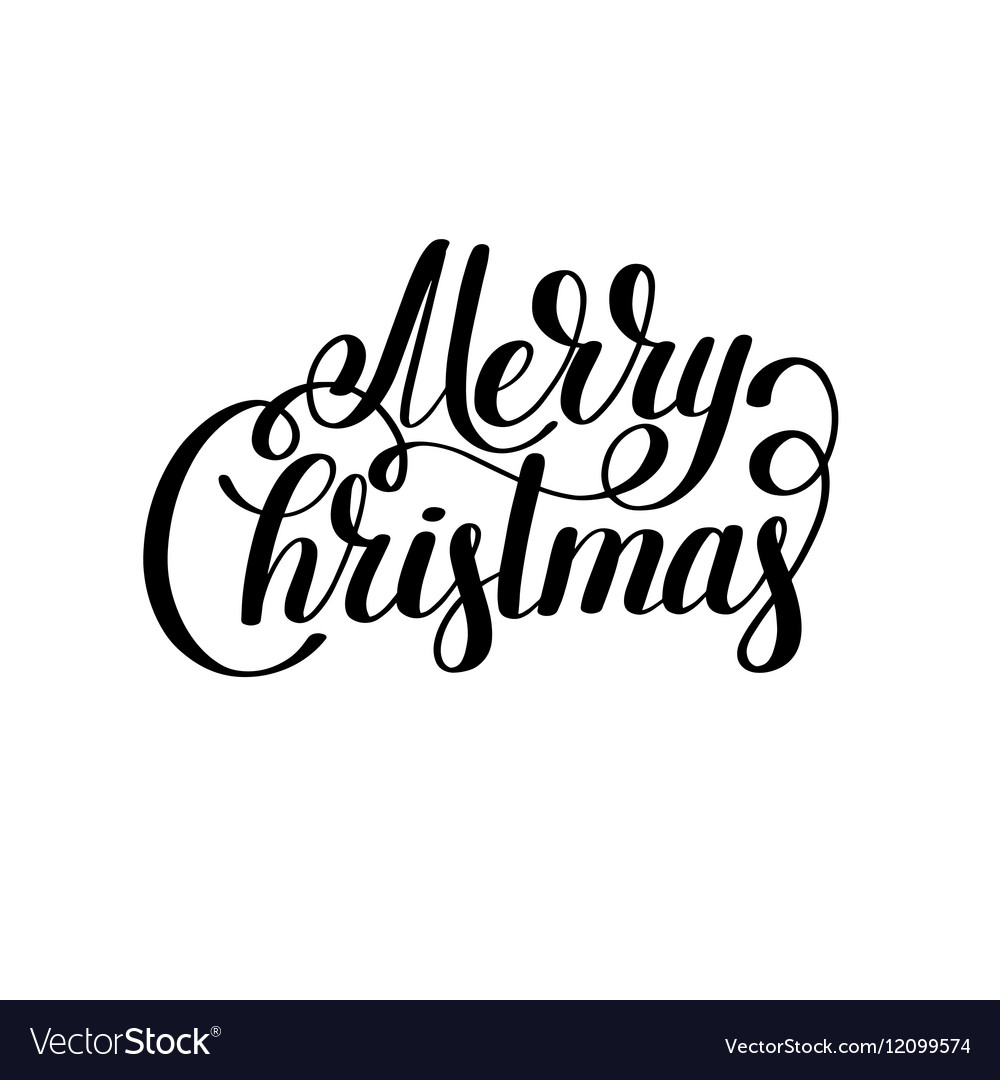 Merry christmas black and white handwritten Vector Image