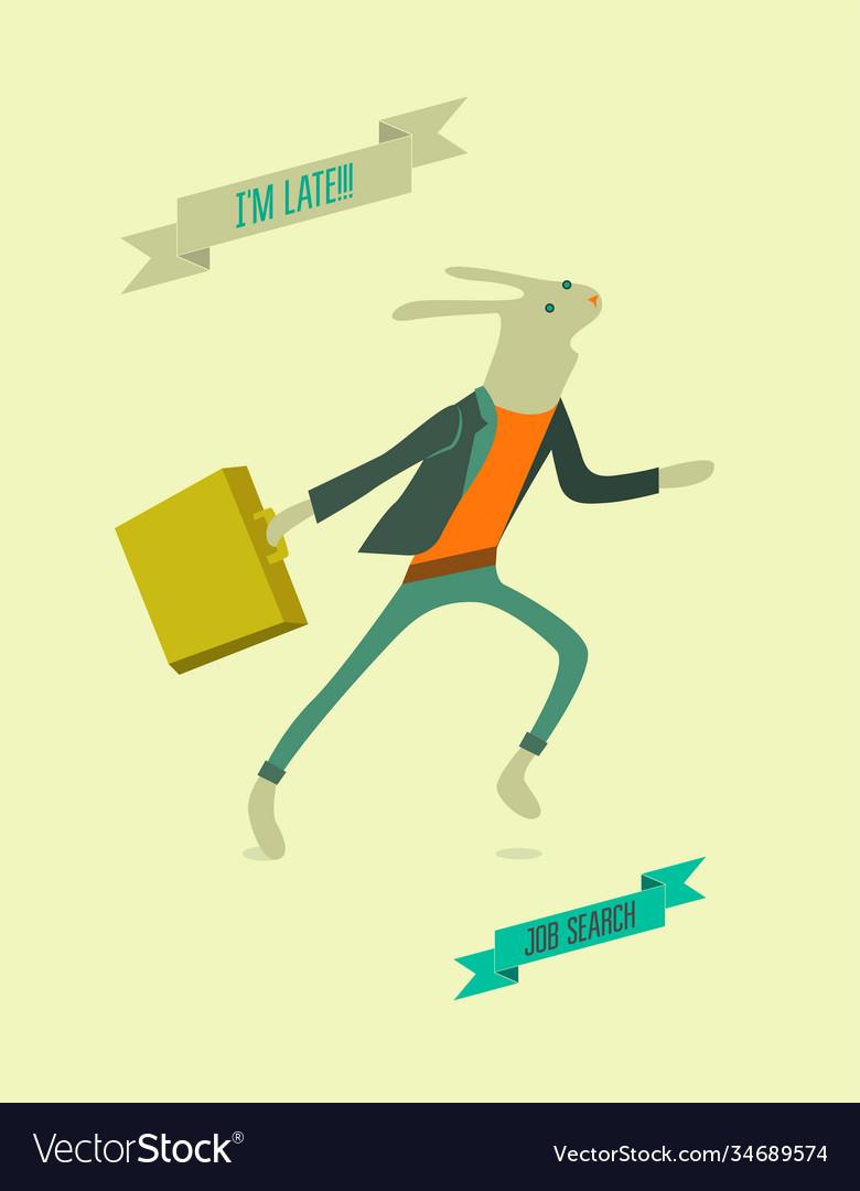Running funny cartoon rabbit