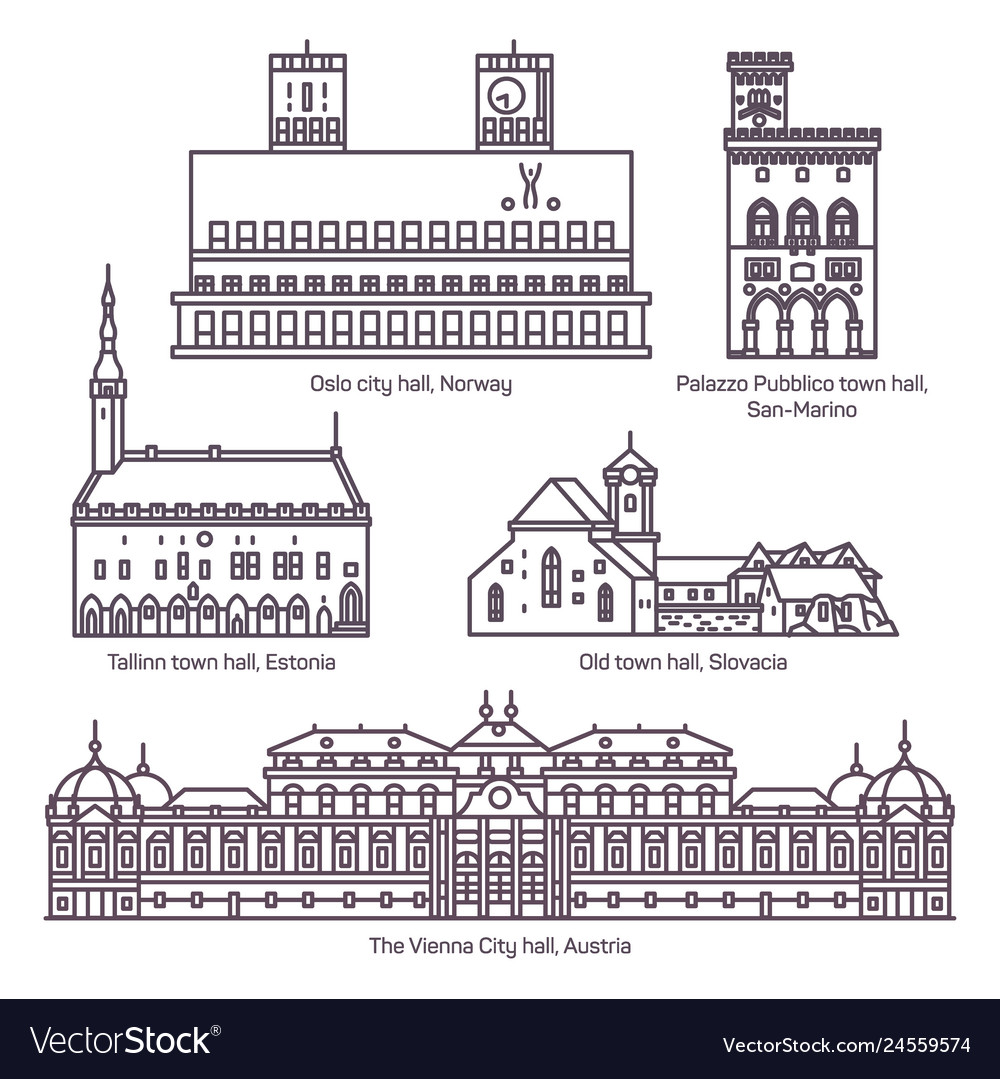 Set isolated town and city hall architecture