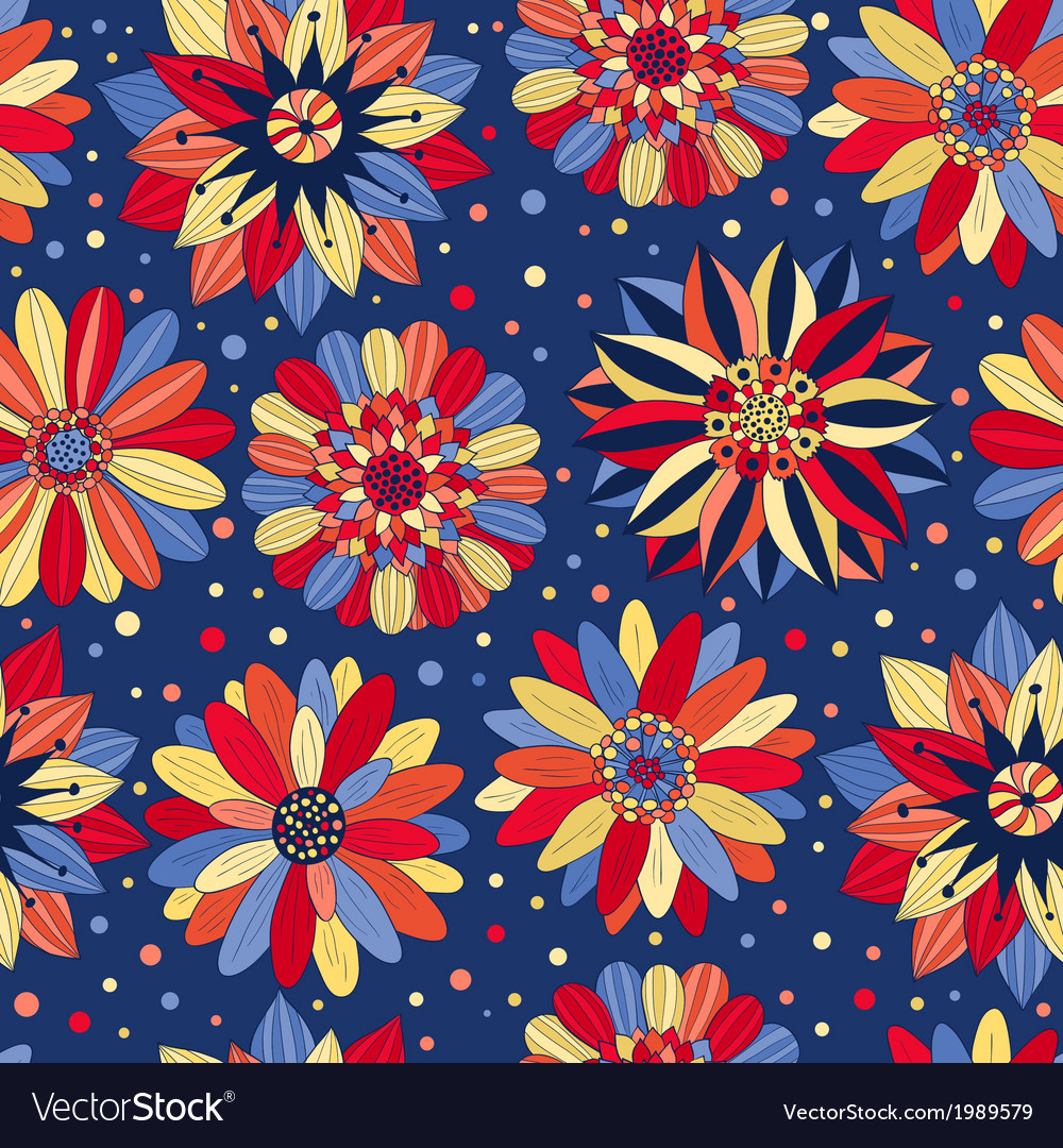 Beautiful Bright Flowers Blue Royalty Free Vector Image