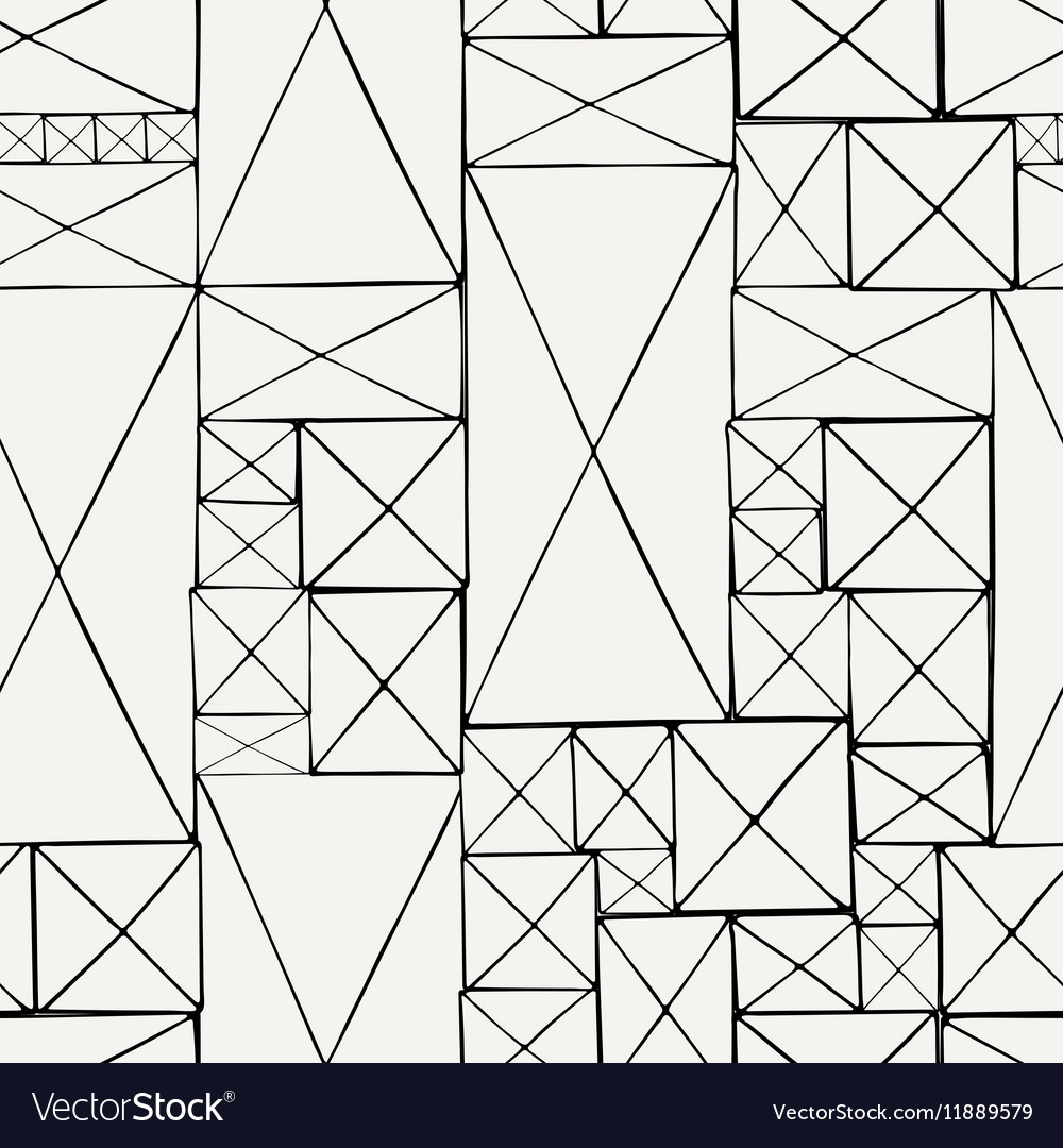 Block hand drawn doodle seamless pattern vector image