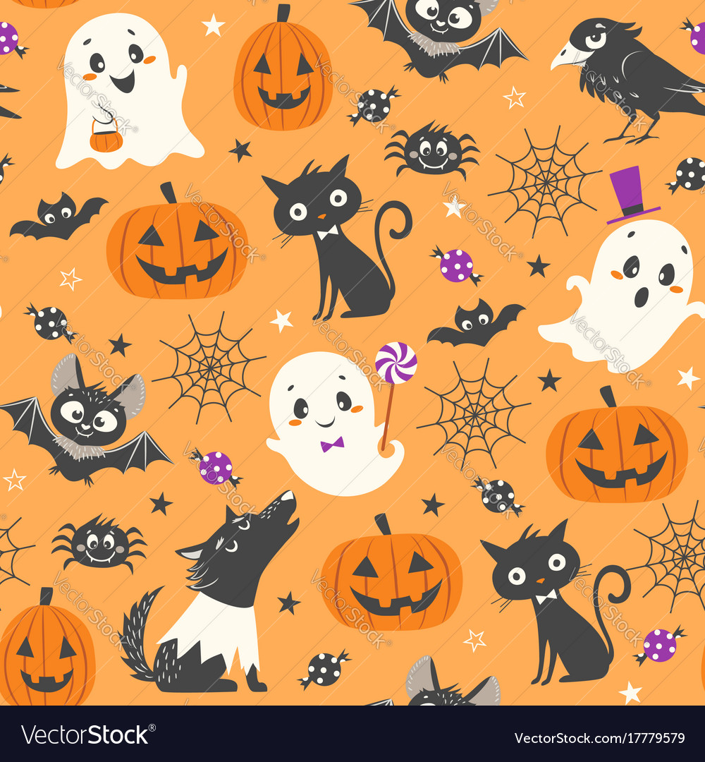 cute halloween pattern royalty free vector image