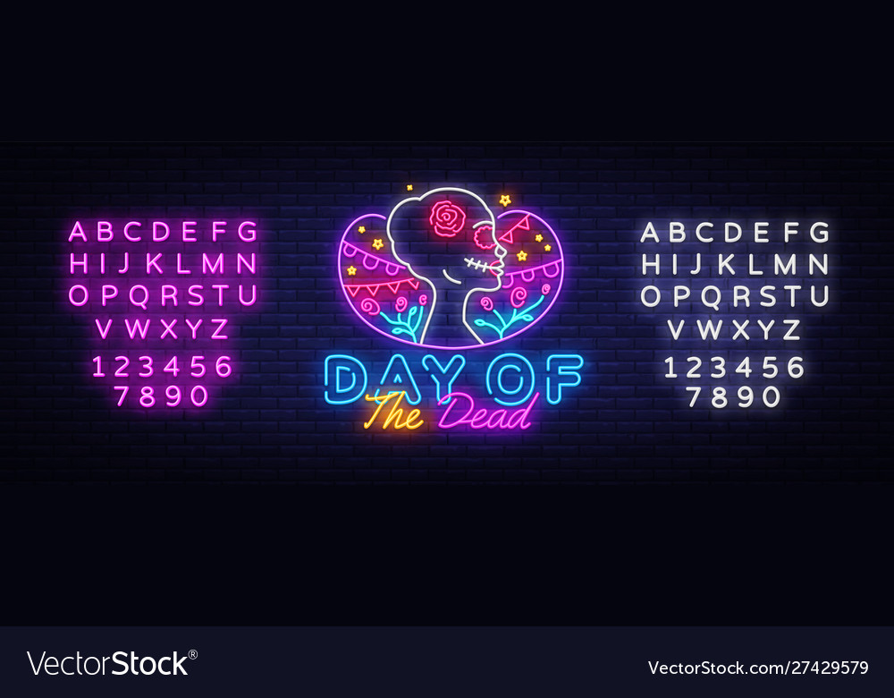 Day dead neon sign dia de los