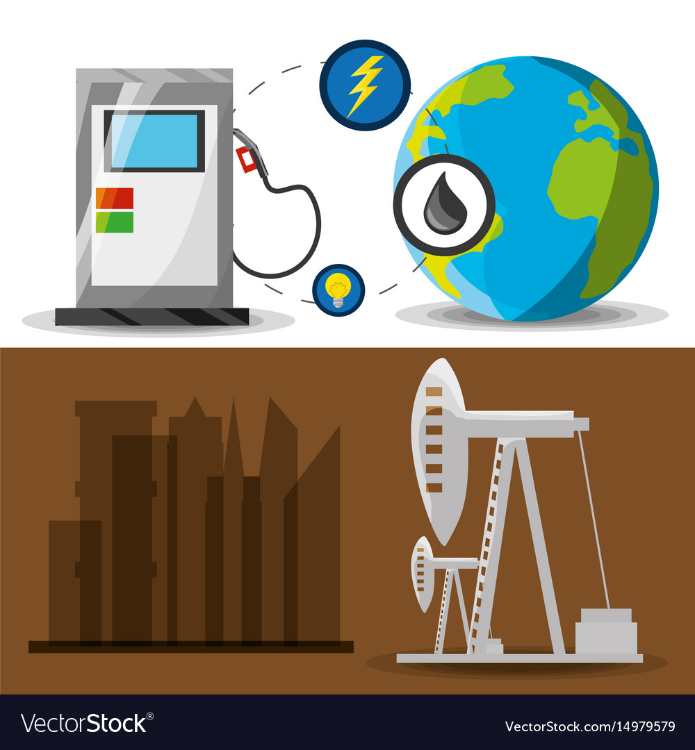Flat landscape releated gasoline and fossil energy vector image