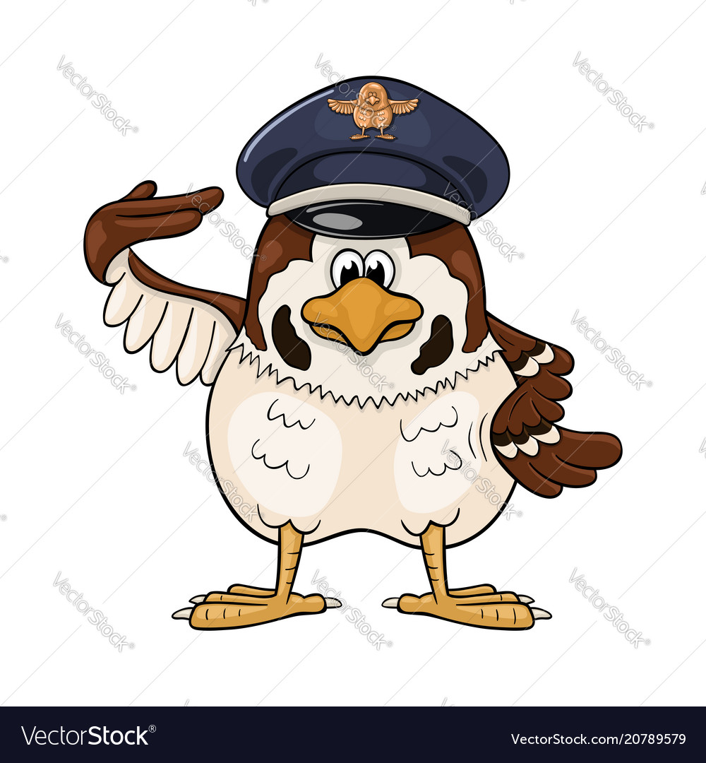 Funny cartoon sparrow in service cap with pilot