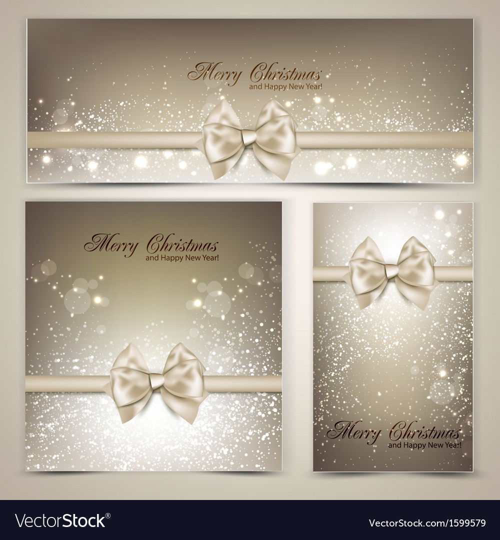 Holiday banners with ribbons background