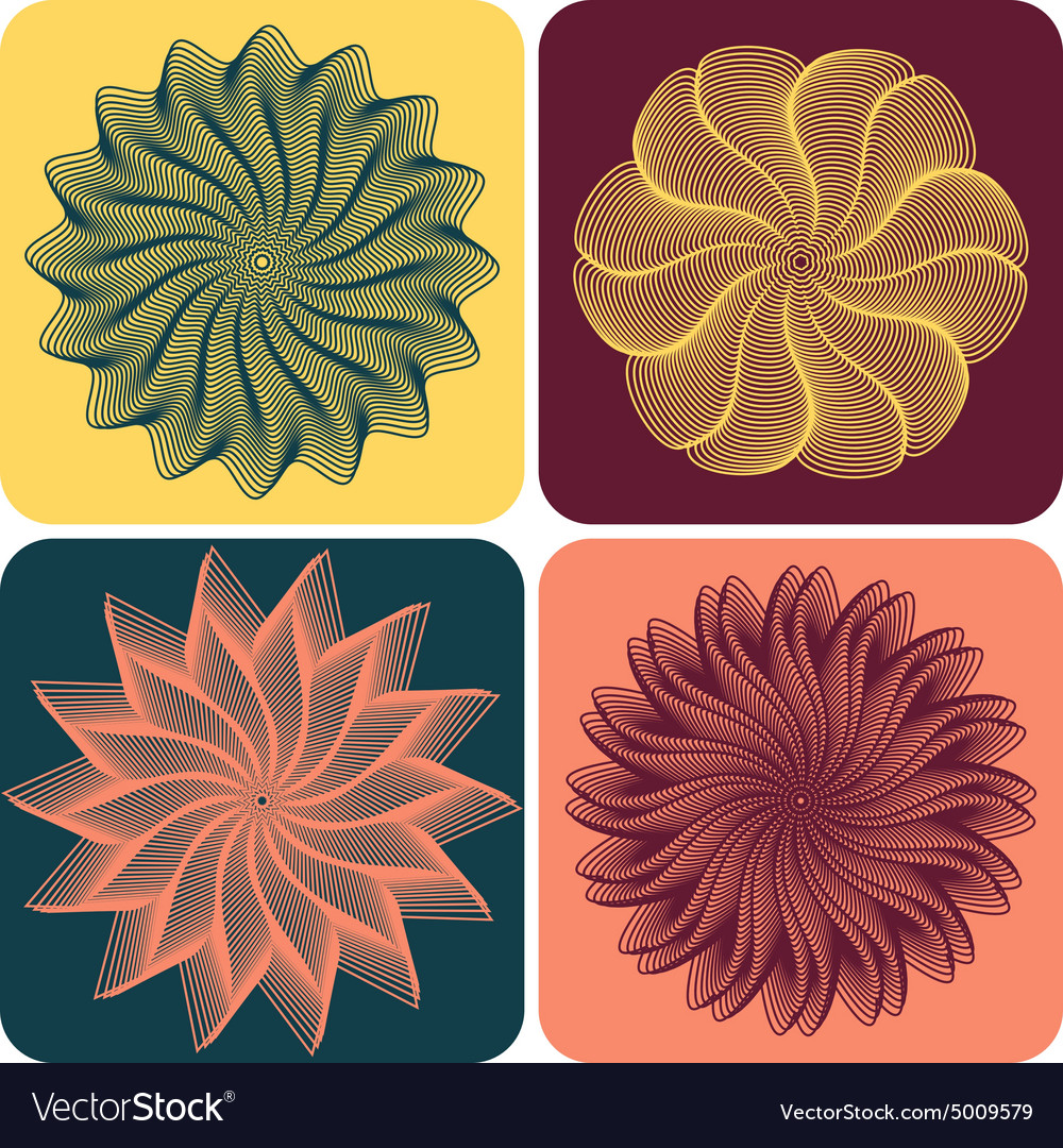 Set of abstract flowers vector image