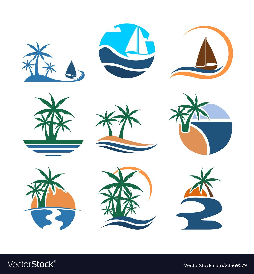 Summer beach set graphic design