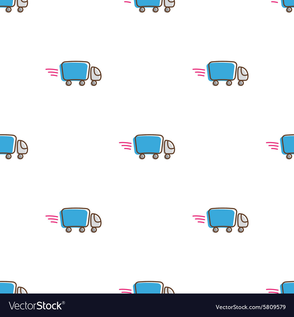 Truck icons seamless pattern Funny express
