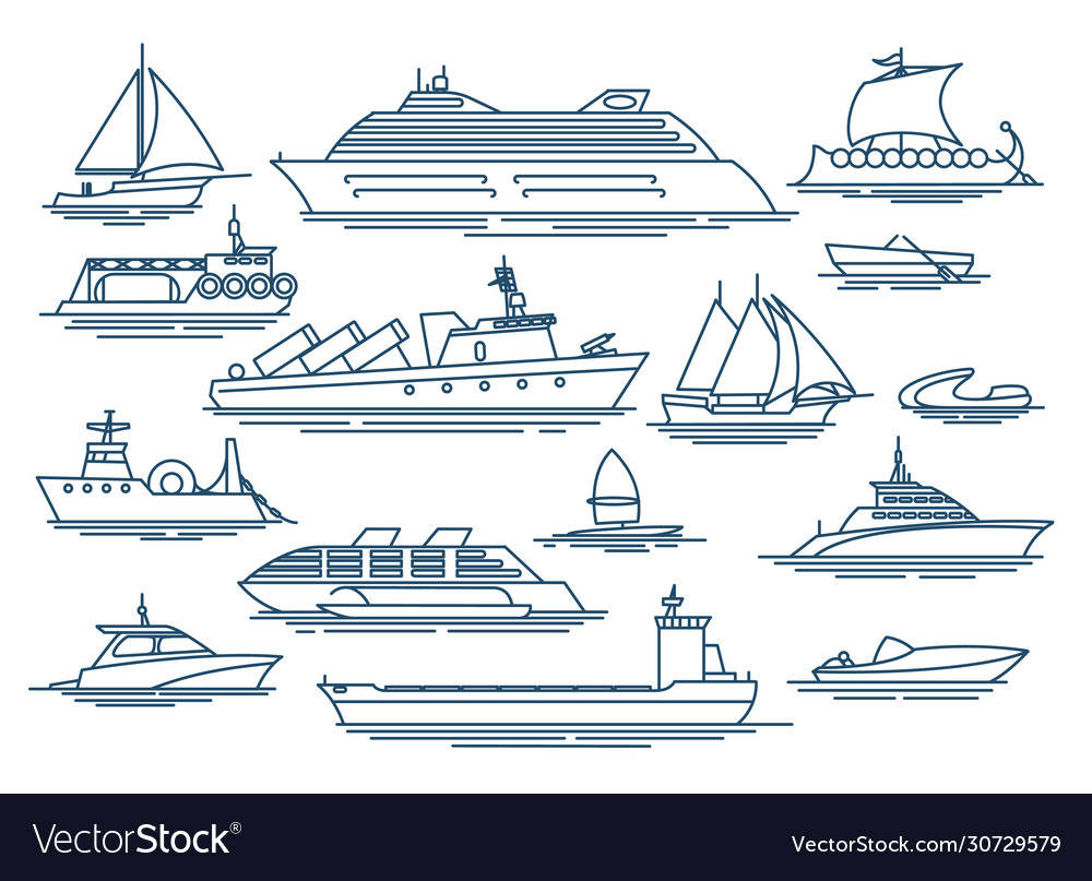 Vessel linear icons vector