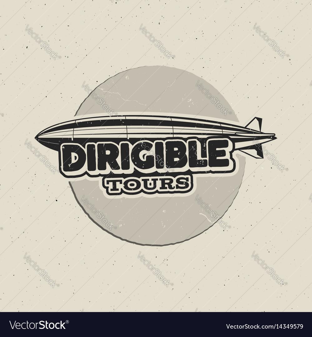 Vintage airship logo design retro dirigible badge