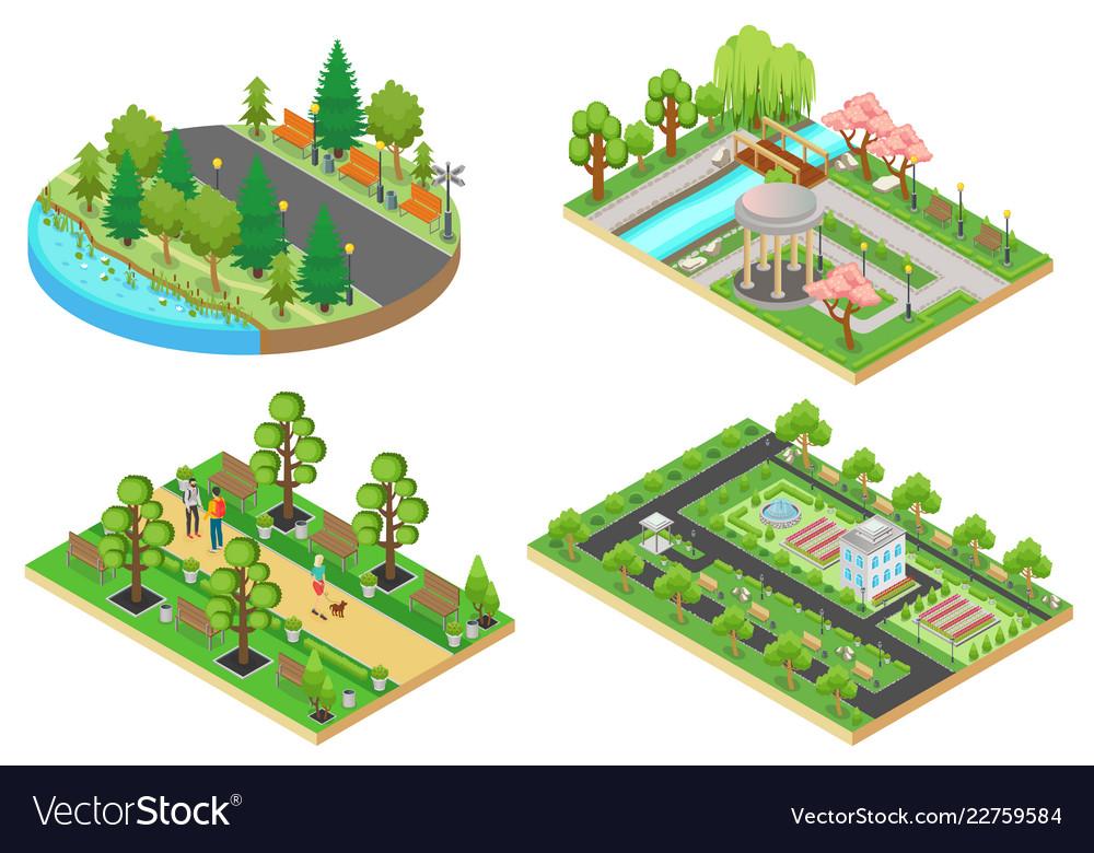 3d isometric cartoon style green city public park