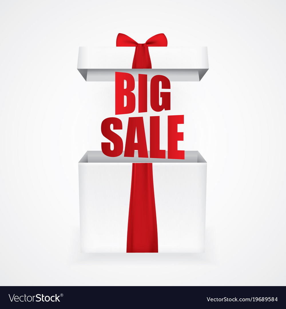 Big sale with a christmas gift box Royalty Free Vector Image